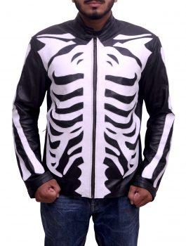 Skeleton Sketch Men's Black Motorcycle Jacket