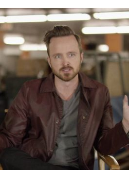 Aaron Paul Maroon Leather Stylish Jacket Coat