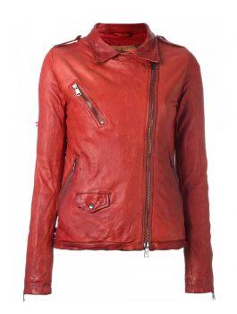 Ontario Red Distressed Leather Biker Jacket