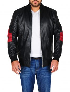 8 Ball Men's Bomber Black Leather Jacket