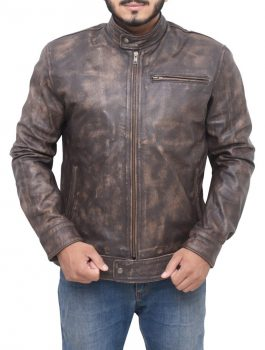 Lucas Till MacGyver Distress Brown Jacket