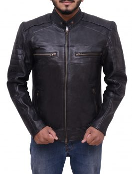 Cafe Racer Black Biker Leather Jacket