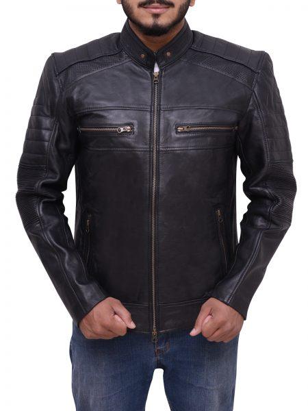 Cafe Racer Black Biker Leather Jacket