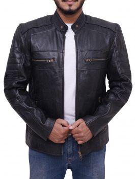Cafe Racer Biker Black Leather Mens Jacket