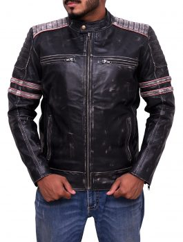 Mens Vintage Black Distressed Motorcycle Biker Cafe Racer Real Leather Jacket