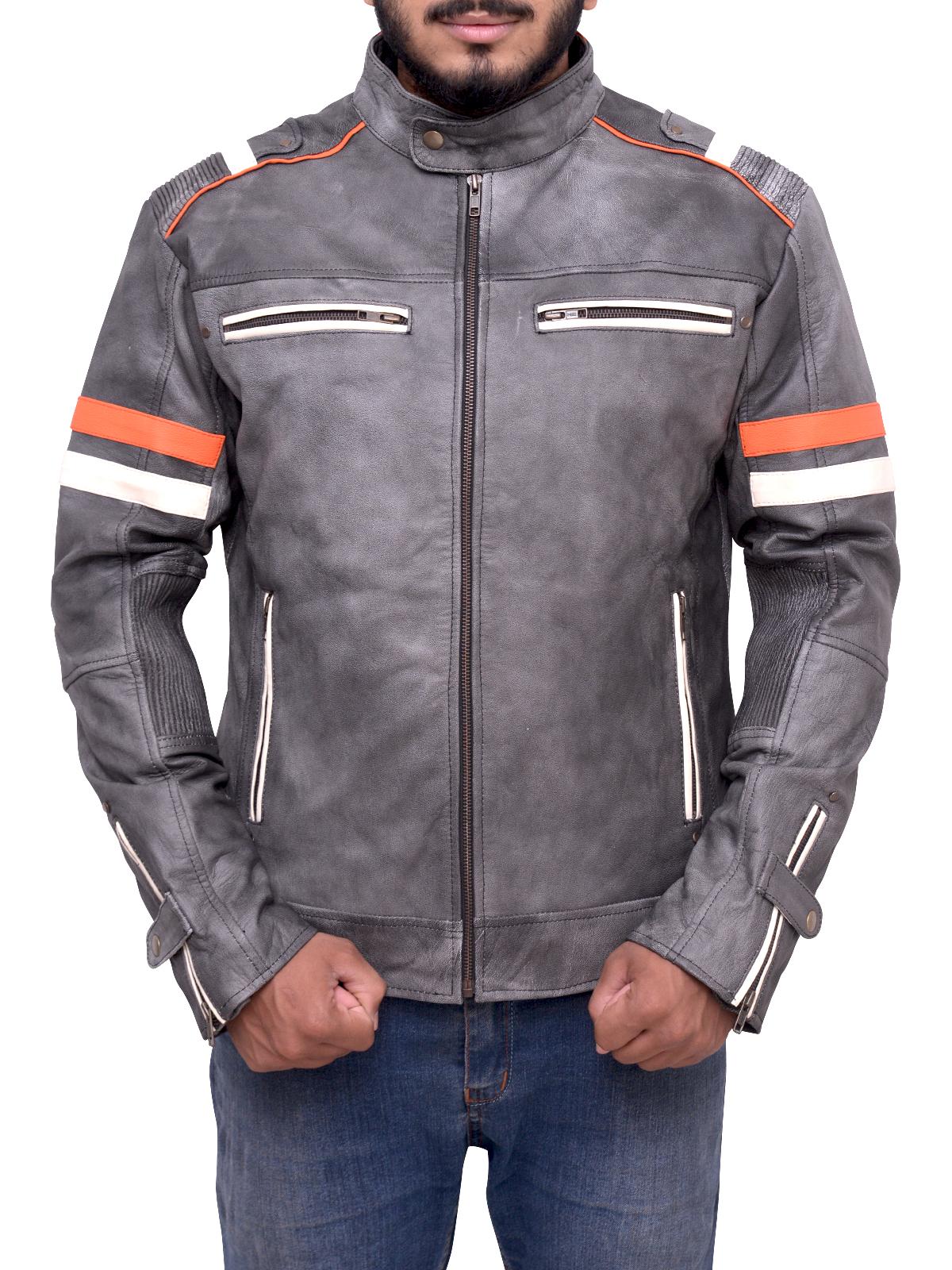 Men/'s Biker Vintage Motorcycle Cafe Racer Retro Distressed Leather Jacket
