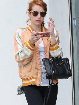 Emma Roberts Satin Orange Reversible Jacket