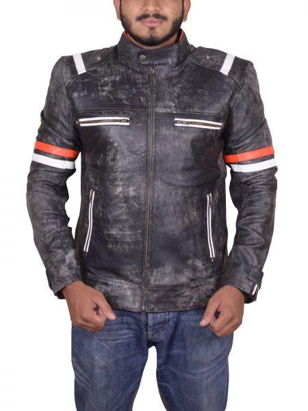 Men's Vintage Motorcycle Cafe Racer Retro Biker Distressed Leather Jacket