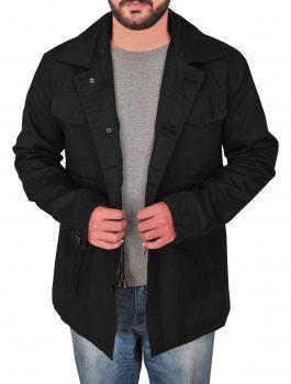 black cotton jacket , shirt collar , black lover