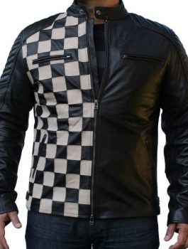 Checkerboard Classic Style Leather Jacket