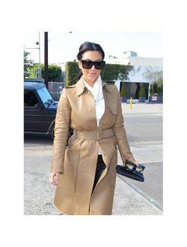 Kim Kardashian Long Brown Leather Coat