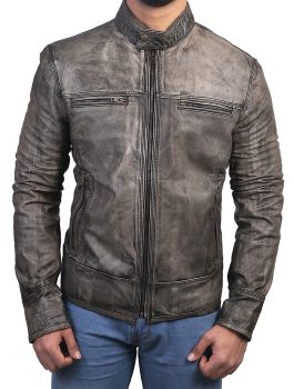Mens Real Gray Cafe Racer Jacket