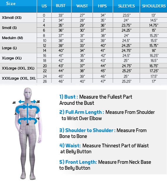 Women Size Chart - Measurements in inches