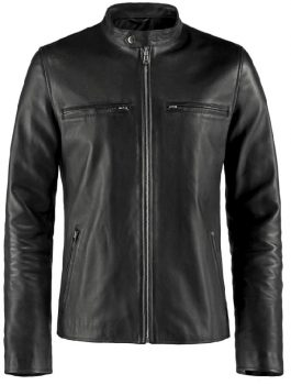 Caferacer Black Leather Jacket For Mens