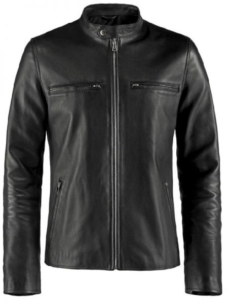 Caferacer Black Leather Jacket For Mens