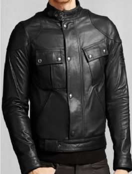 Front Buttoned Mens Biker Black Jacket