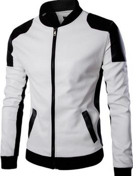 Joliet White And Black Leather Jacket