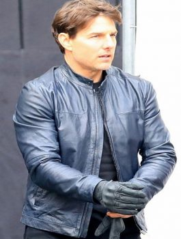 Mission Impossible 6 Tom Cruise Blue Leather Jacket