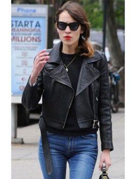 Alexa Chung Black Leather Jacket