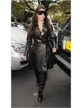 Kim Kardashian Trendy Leather Black Coat