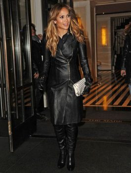 Jennifer Lopez Long Trench Black Coat