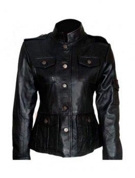 Anne Hathaway Leather Black Jacket
