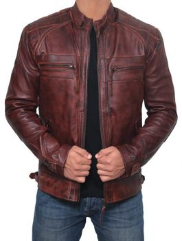 Mens Stylish Racer Distressed Lambskin Leather Jacket