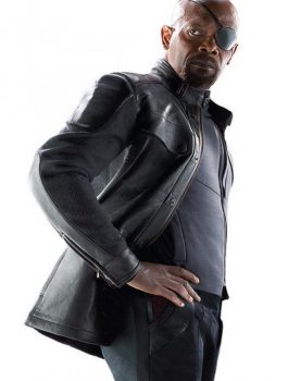 Age Of Ultron Nick Fury Black Leather Jacket