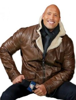 Fast & Furious 8 2017 Dwayne Johnson Brown Leather Jacket