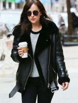 American Actress Dakota Johnson Leather Jacket