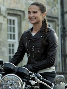 Tomb Raider Alicia Vikander Black Motorcycle Jacket