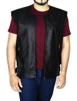 Men's Skull Icon Motorcycle Black Leather Vest