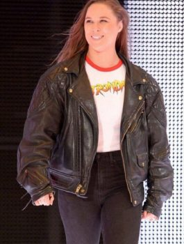 Ronda Rousey Motorcycle Black Leather Jacket