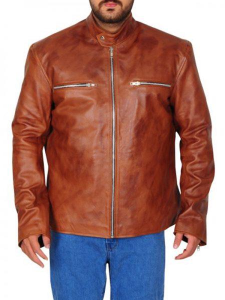 Men Classic Biker Tan Brown Leather Jacket