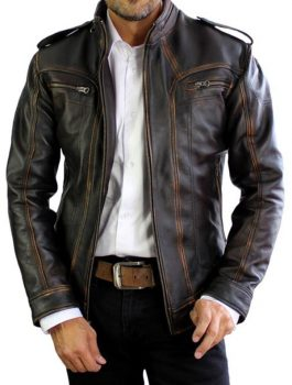 AX Distressed Black Leather Jacket
