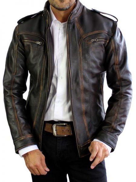 AX Distressed Black Leather Jacket