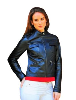 Akira Black womens Leather Jacket