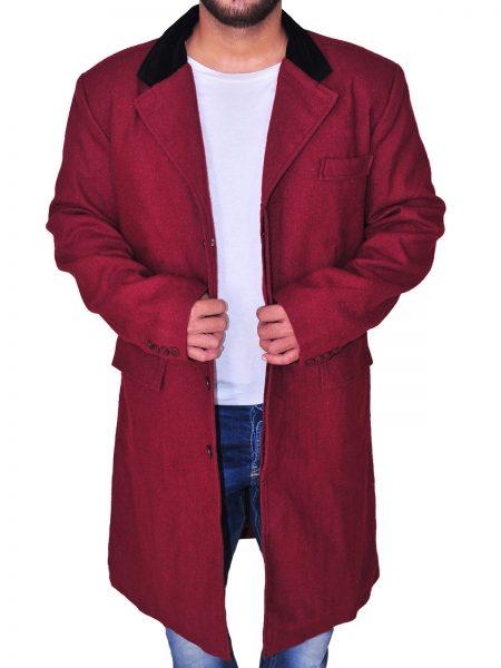 CHERRY RED COAT , DOUBLE POCKET , LAPEL COLLAR