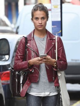 Alicia Vikander Maroon Leather Jacket
