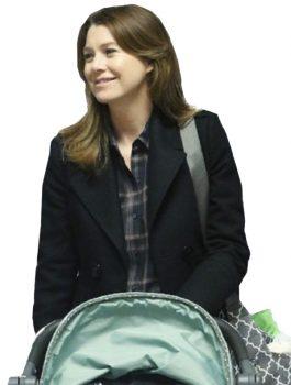 Grey's Anatomy,Ellen Pompeo Black Wool Coat