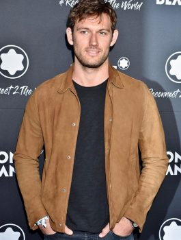 Alex Pettyfer Brown Suede Leather Jacket