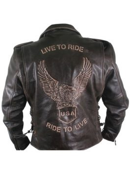 USA Ride To Live Vintage Distressed Leather Jacket