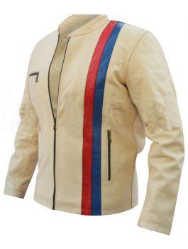 Off White Red Blue Strip Biker Leather Jacket