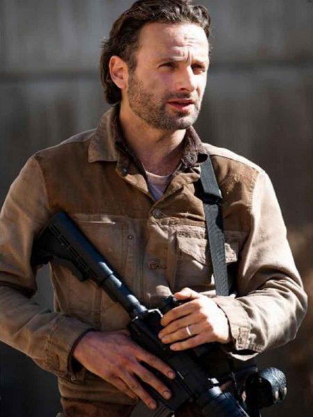 The-Walking-Dead Jacket,Brown leather jacket