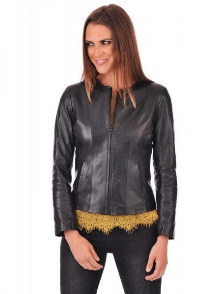simple black leather jacket, Collarless