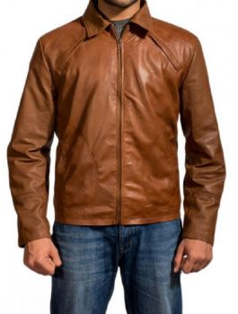 Brown Leather Jacket, zipper style