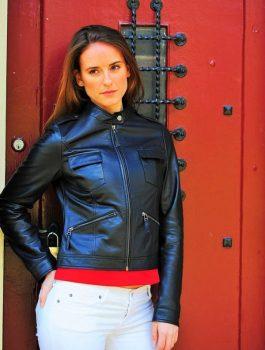 black leather jacket,Round collar
