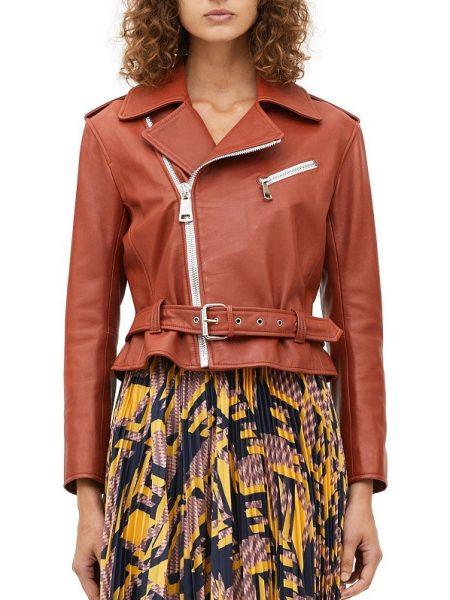 brown leather jacket, ladies jacket