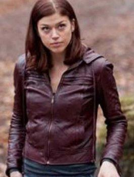 Maroon leather jacket, women's jacket