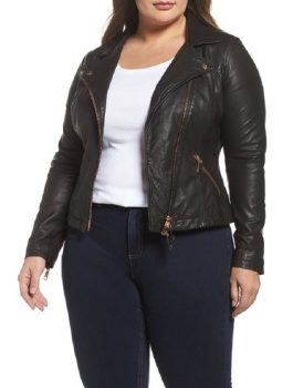 Women's Leather Jacket, Zipper Closure